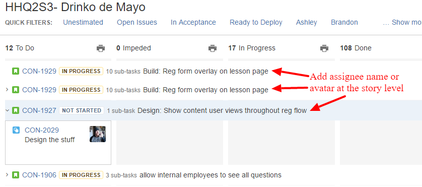 Add Assignee Name or Avatar to Story Level.png