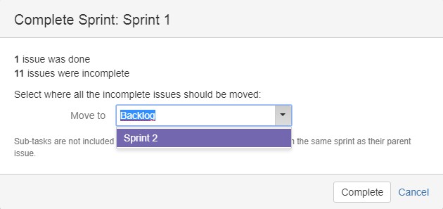 Setting the default when completing a sprint