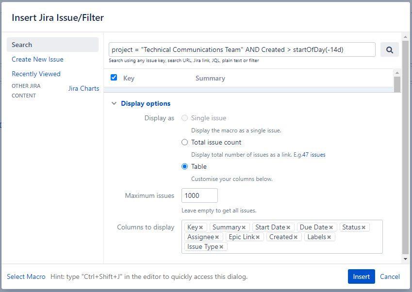 Jira Issue Filter Macro Settings.jpg