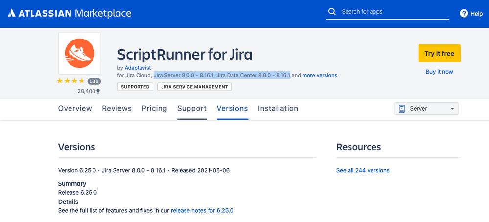 Adaptavist ScriptRunner for Jira version listing.png