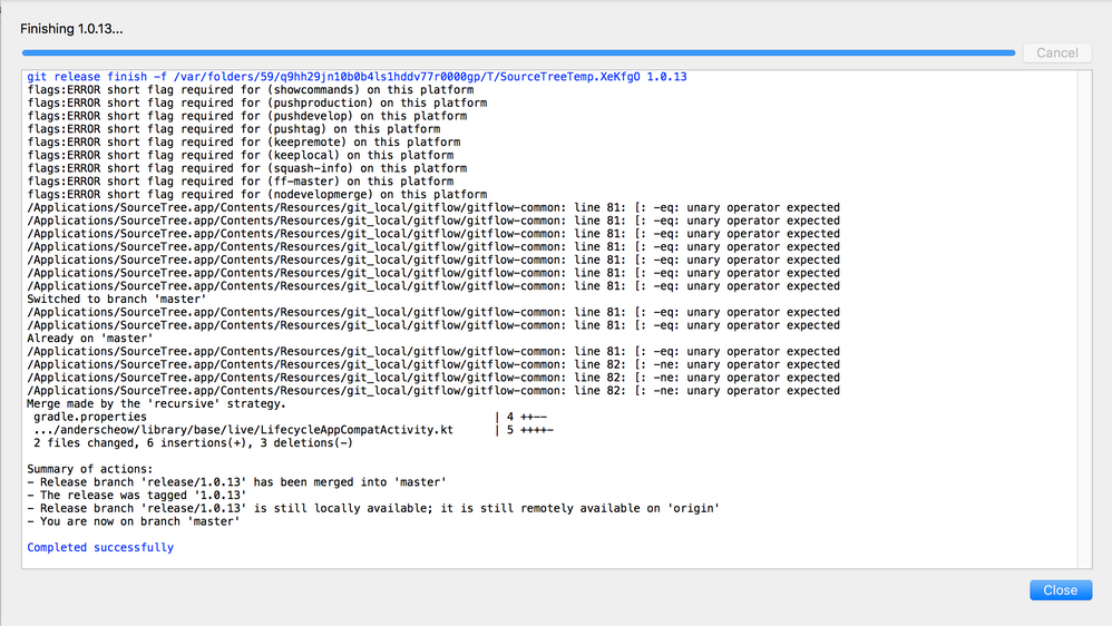 Solved: Git-flow release broken