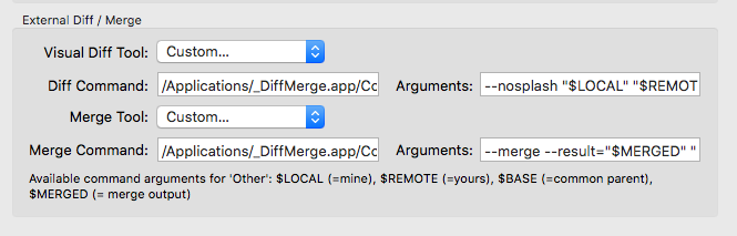 Sourcetree external diff greyed out