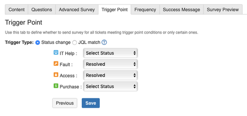 Select conditions that will trigger a survey using surveys for service desk.png