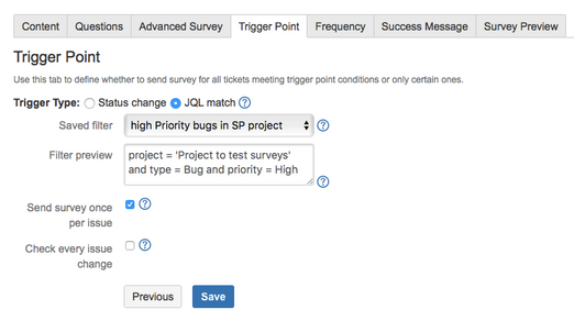 create a custom JQL query to serve as a survey trigger point in surveys for service desk.png