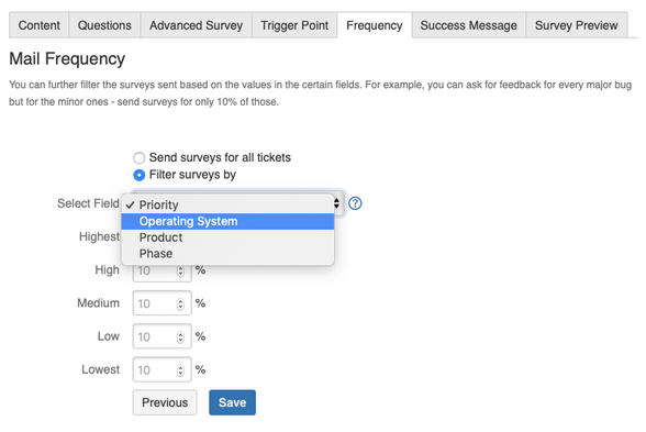 specify a custom field to filter out surveys using surveys for service desk.png