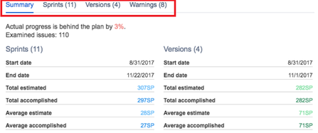 Switch between tabs to get more insight in Agile Reports.png
