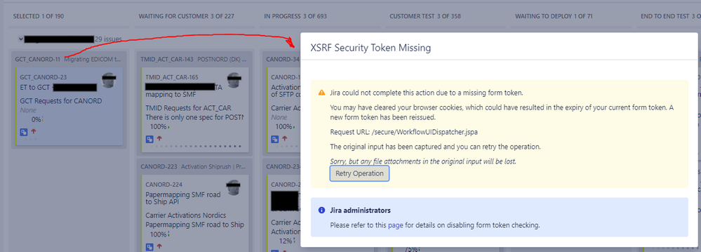 XSRF Security Token Missing error when dragging a task over the Kanban board in Jira.png