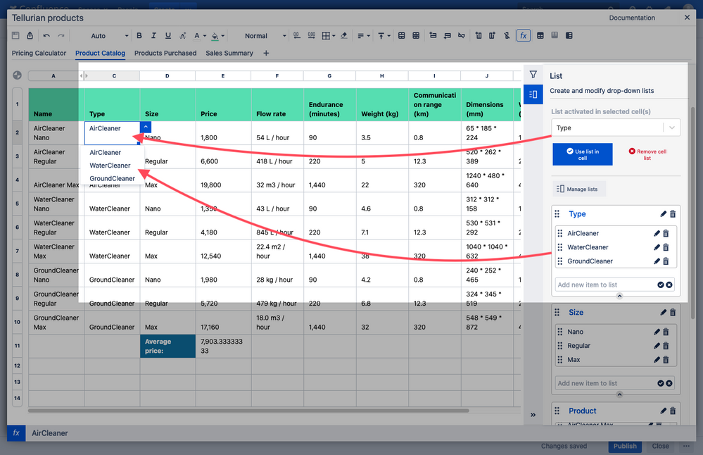 Drop down lists in Confluence Elements Spreadsheet.png
