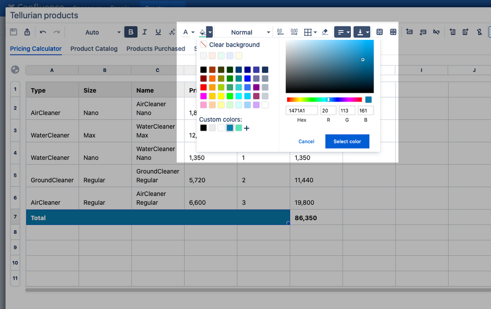 Elements Spreadsheet custom colors for tables in Confluence.png