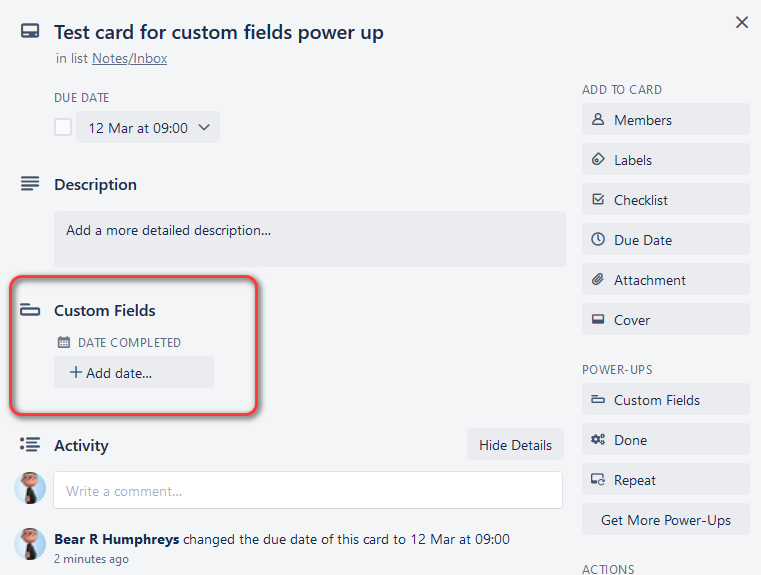 Test card for custom fields power up on Haven View Chalet Trello2.png
