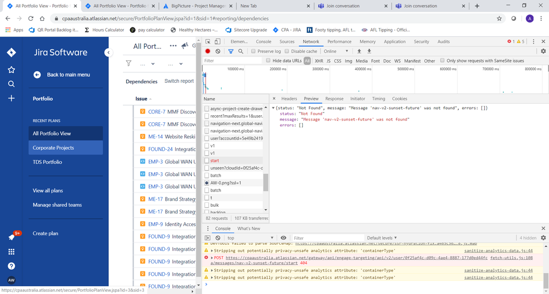 JIRA dependency - dev tools output.png