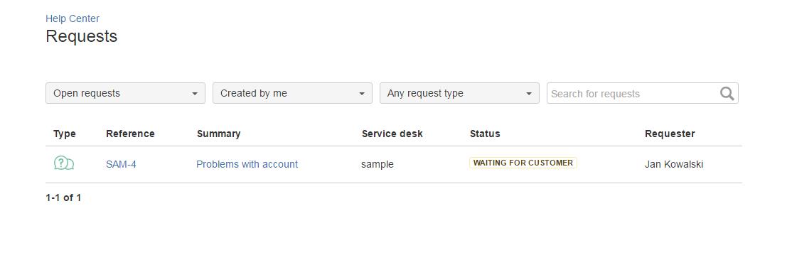 Service Desk Portal - list of requests configurati...