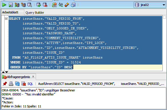 Solved: Using active objects alias causes error ORA-00904...