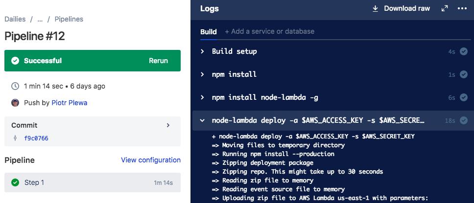 Recipe: Deploying AWS Lambda functions with Bitbuc    - Atlassian
