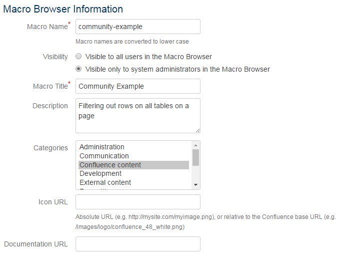 Implementing a User Macro filtering a Confluence table