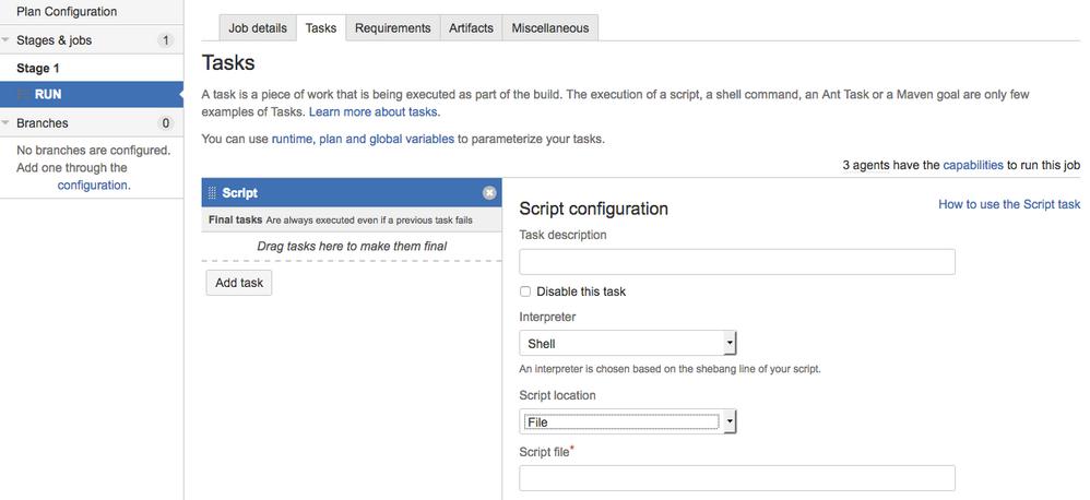 Bamboo: build task - Script Task to run Batch file
