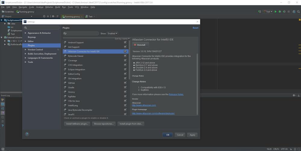 IntelliJ IDEA integration to Scriptrunner Script C