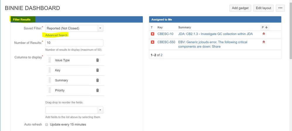 Solved How Do I Add A Gadget On My Jira Dashboard Of Tick