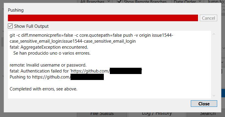 Git push authentication failed