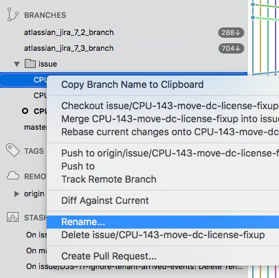 How can you rename git branches in SourceTree?