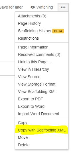 How do I copy Scaffolding metadata along with the