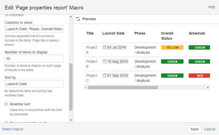 Confluence Project Management Dashboards
