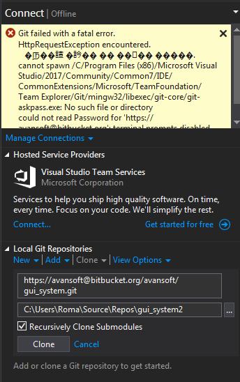 Cannot clone git-repository Visual Studio