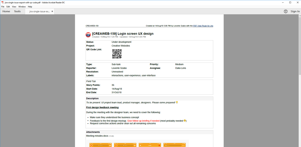 jira-single-issue-export-with-qr-code