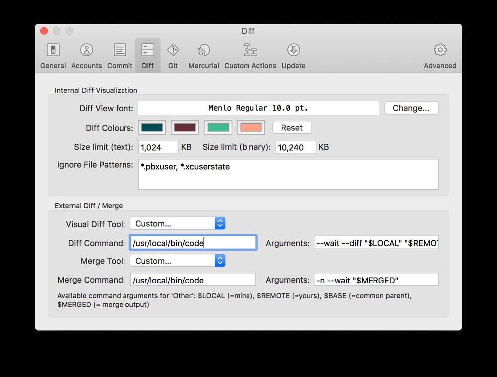 Setup Sourcetree to use Visual Studio Code as Exte