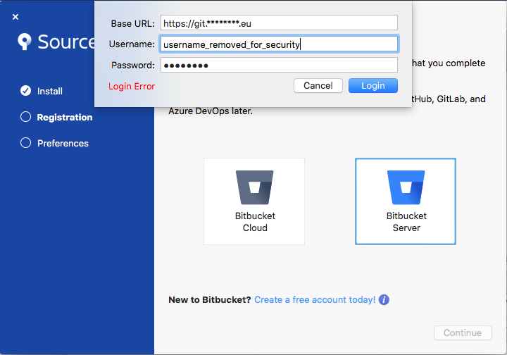 Solved: Sourcetree setup - unable to login to Bitbucket se