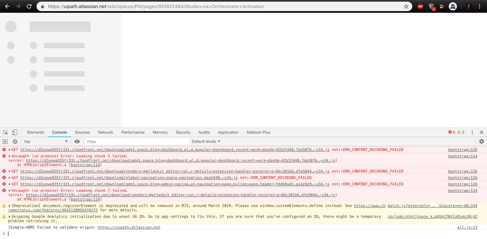 Confluence on Chrome won't load