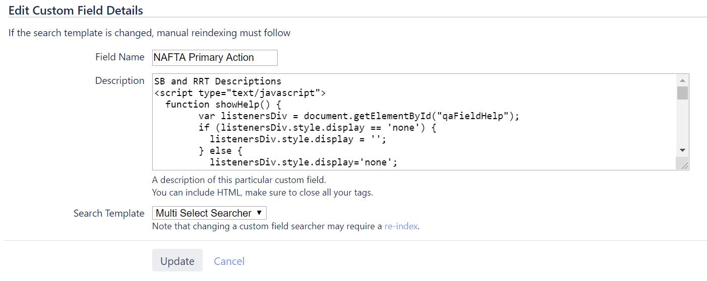 Javascript Help Info won't run on edit screen