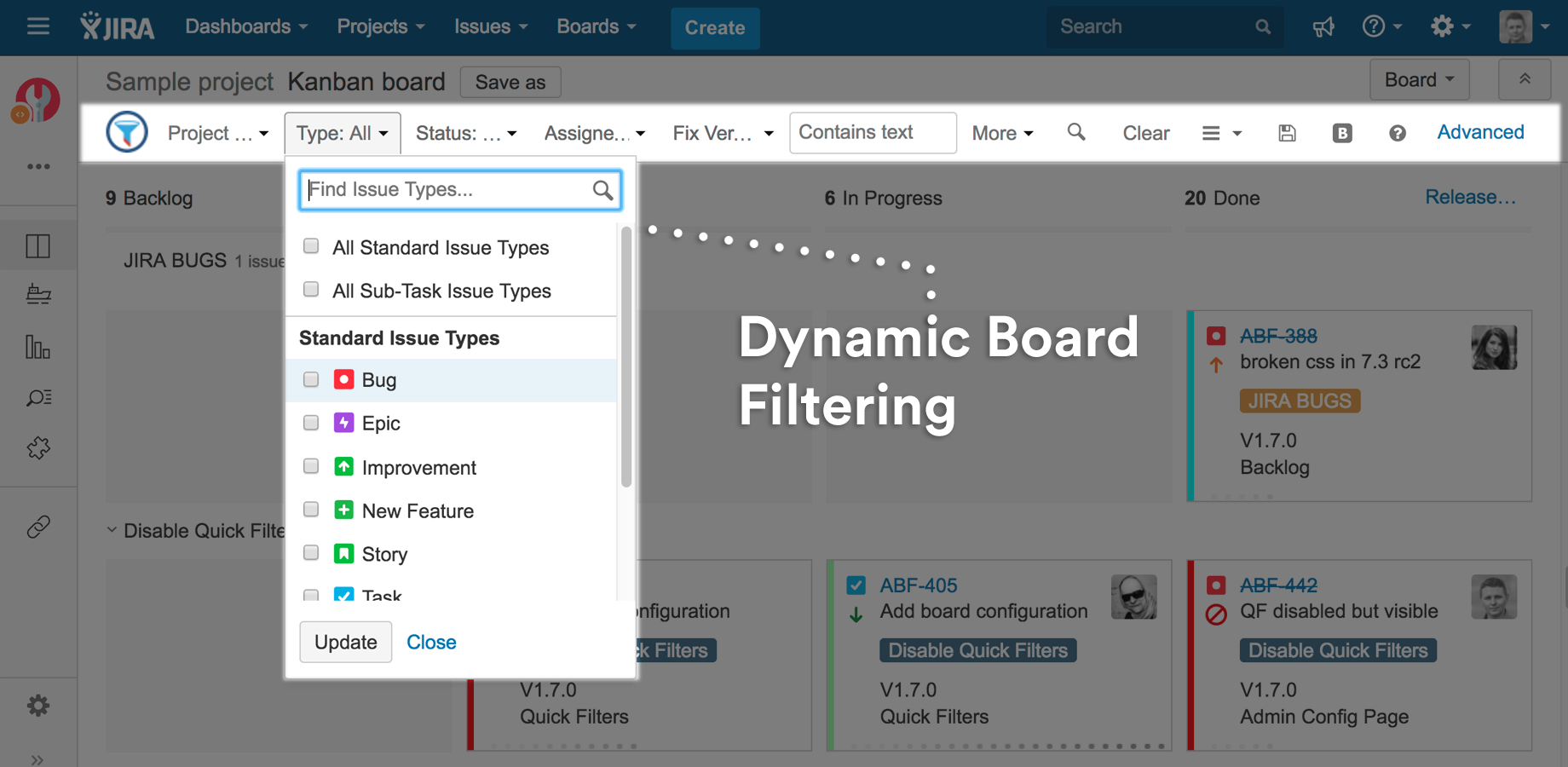 How can I filter my JIRA Agile board by assignee?