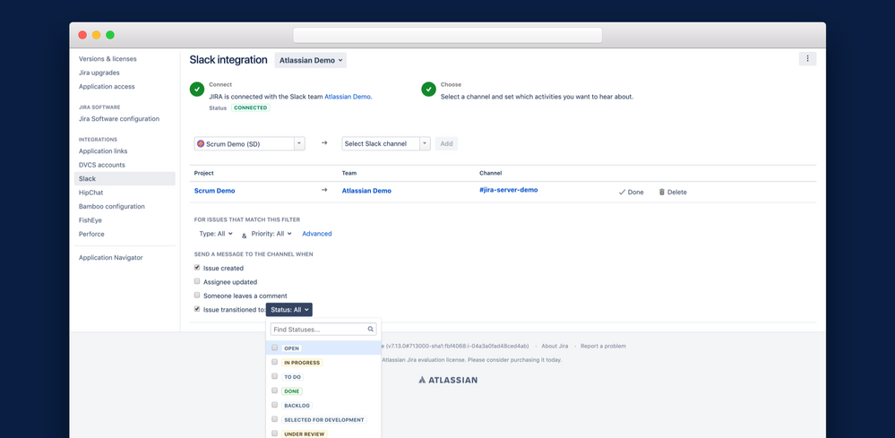 Connect Jira and Confluence Server to Slack Today