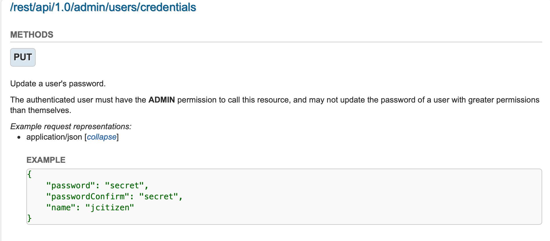 Unable to reset password using REST API's