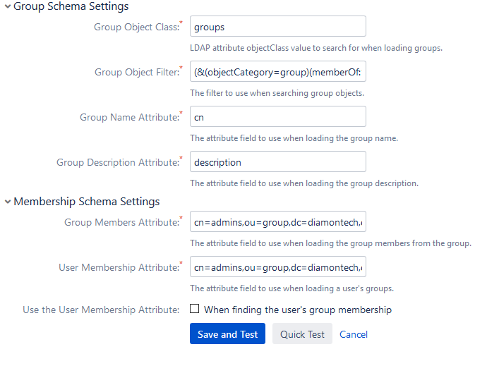 JIRA OpenLDAP - Test get user's memberships : Fail