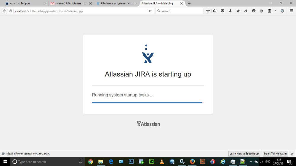 JIRA hangs at system startup page