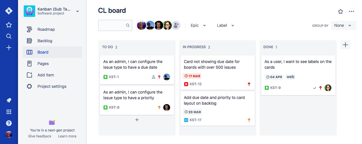 Jira Software next-gen release notes