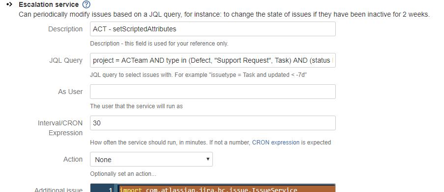Scriptrunner Escalation Service updating incorrerc